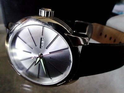 ARAGON Men's 47mm Vertigo Day/Date Quartz Leather Strap Watch