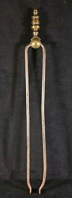 Antique Early To Mid 1800s Brass & Iron Fireplace Hearth Tongs 19.75 Inch GOOD