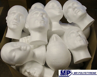 Minimum 8 Damaged Polystyrene Male Heads Only