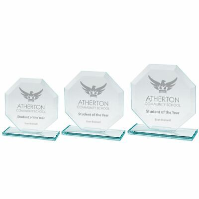 Engraved Glass Award Trophy Jade Oblivion Crystal Trophies - Text or Logo