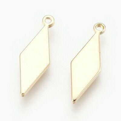 10pcs Brass Rhombus Charm Blank Stamping Tag Jewelry Pendant Gold Plated 16*5mm
