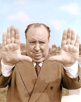 """ALFRED HITCHCOCK ACTOR DIRECTOR PRODUCER 8x10"""" HAND COLOR TINTED PHOTOGRAPH"""