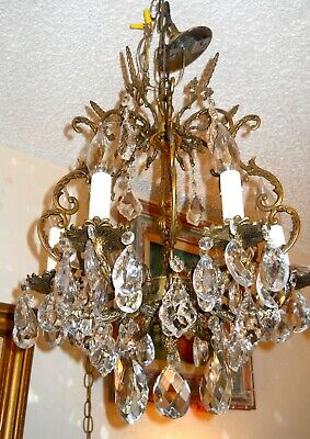 "Spectacular Spanish Brass 6 Candle Crystal Chandelier 21"" Tall"