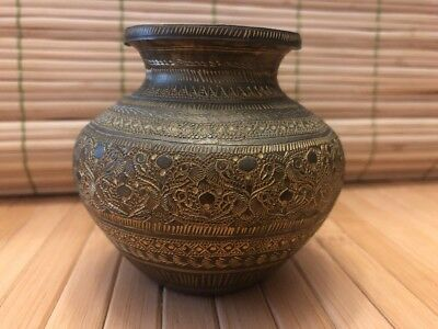 Antique Brass Urn Pot Hand Made/Carved Persia Damascus Egypt 1900s Brass Urn Pot