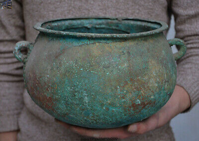 """14""""Old Chinese Ancient Shang zhou Dynasty Food Wine Vessels Handle Pot Jar Crock"""