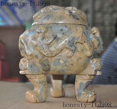 """A 7""""Rare Chinese Old Jade Hand-Carved Dragon Beast Statue Incense burner Censer"""