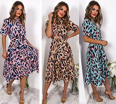 Women Ladies Leopard Print Frill Detail Satin Belted Party Fashion Midi Dress