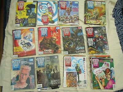 2000AD with Judge Dredd Progs 1990 issues (48 of 52 issues) includes postcards