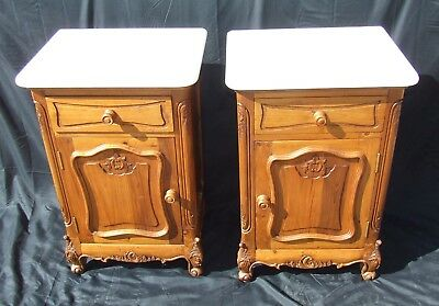 PAIR Antique Style Pine & Marble Bedside Cabinets Pot Cupboards Lamp Stands