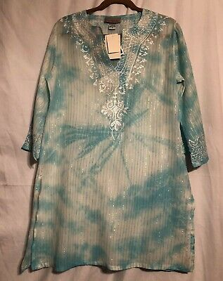 77fdd3e99d NEW! PEPPERMINT BAY Swim Cover Up Tunic Blouse Cotton Gray Floral ...