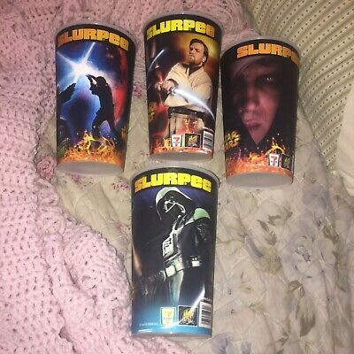 "Slurpee ""Star Wars"" Episode Iii Large Collectible Cups Dated 2005 Lucas Set Of 4"