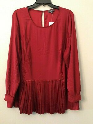 NWT The Limited Women's Plus 1X Red Merlot Button Cuff Pleated Satin Blouse $79!