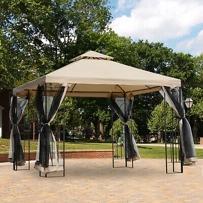 Outsunny Outdoor Patio Gazebo Pavilion Canopy Tent Steel w/ Mosquito Netting