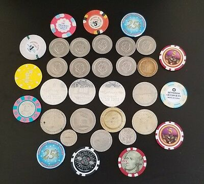 Lot of 34 different Casino Chips-Tokens From Nevada to Bahamas,old end new