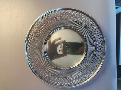 "Antique Sterling Silver Watson Co Reticulated Sandwich Plate Tray 9"" Stunning"