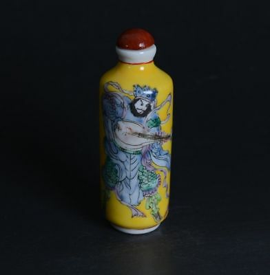 Chinese Hand Drawing Buddhist Figure Famille Rose Porcelain Snuff Bottle-JR12360