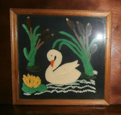 "Swan Cattails Chenille Embroidery Finished & Framed 19"" sq Punch Needle"