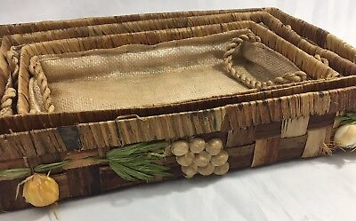 Vintage Wicker Rattan Tray Lot Floral Straw Island Decor Tropical Style