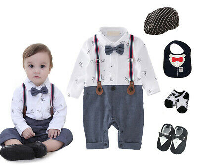 baby boys cotton Tuxedo suit birthday bodysuit outfits & sets party wedding suit