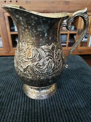 "Antique Silver Plated Water Pitcher Hand Chased Carved  9""  x  8.5""  x  5"" ESPN"
