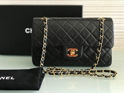 "fd8c90ef0a06 Auth RARE Vintage CHANEL 9"" Small Black Lambskin Gold Chain Classic Double  Flap"