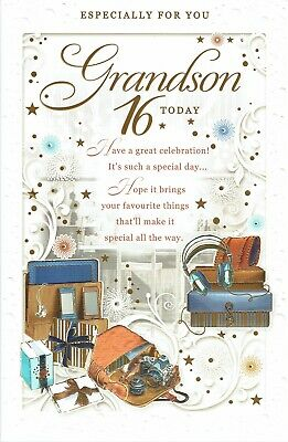 GRANDSON 16th BIRTHDAY CARD FABULOUS LARGE Card With Lovely Words AGE 16
