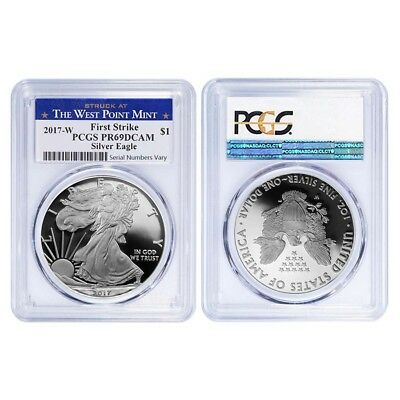 Lot of 2 - 2017-W 1 oz Proof Silver American Eagle PCGS PF 69 DCAM First Strike