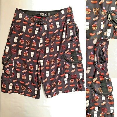 f6f1a5254e Matix Gusto 3000 Beer Bbq Board Shorts with Pockets Beer Tab Zipper Size 34  EUC