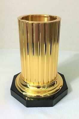 EXTREMELY HEAVY METAL URN VASE FLOWER CONTAINER SHINY GOLDEN FLUTED CYLINDER 8lb