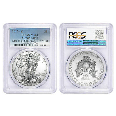 Lot of 2 - 2017 (S) 1 oz Silver American Eagle $1 Coin PCGS MS 69