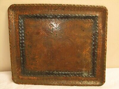 Vtg Copper Tin Middle Eastern Coffee Tea Serving Tray India Morocco Swooshes