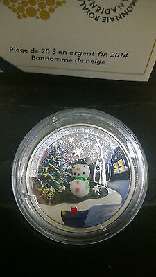 Canada 2014 Murano Venetian Glass Snowman $20 Christmas Silver Proof