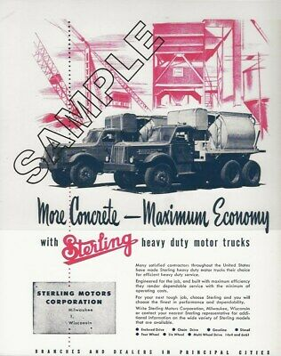 1940s STERLING Magazine Ad Tandem Axle Concrete Mixers 8x10 COLOR Glossy Photo