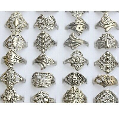 10PCS Wholesale Bulk Jewelry Ring Lots of Mixed Style Vintage Tibet Silver Rings