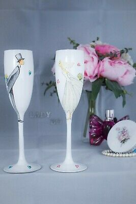 Handmade Wedding Toasting Flutes Set of 2 Personalized Champagne glasses Gro