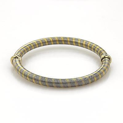 54f89be0f Cartier Vintage 18k Yellow Gold & Steel Wire Wrap Mini Triple Ring Bangle