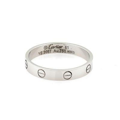 a8e03629614d7 CARTIER MINI LOVE 18k White Gold 4mm Band Ring Size 61-US 9.5