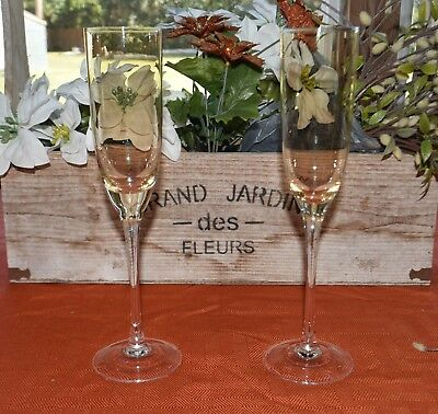 Two Long Stem Champagne Flutes Gold With Clear Stem Wedding Anniversary