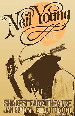Neil Young 1971 - Concert VINTAGE BAND POSTERS Music Rock Blues Old Advert #ob