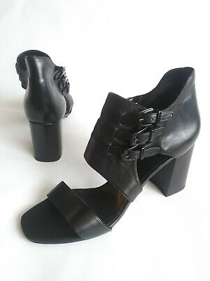 f422e3756bd ZARA WOMAN Strappy Buckled Chunky Heel Sandal Booties Black Leather Womens  10.5