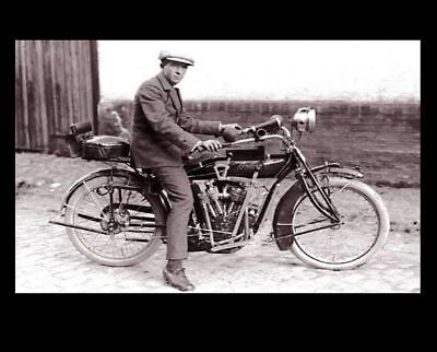 Vintage Indian Motorcycle PHOTO 1916 Power Plus V Twin Bike Rider