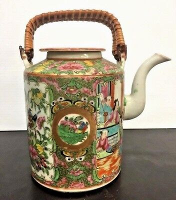Antique Chinese Export Famille Rose Medallion Enameled Pitcher Woven Handles