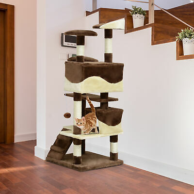 "52"" Cat Scratching Tree  Kitten Play House Multi-Level Activity Center Coffee"