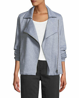 EILEEN FISHER M L  ORGANIC COTTON STRETCH MOTO JACKET BLACK $248  NWT