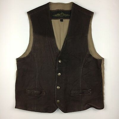 Vintage Structure Men's Leather Vest Size XL Snap Front Brown Adjustable Back