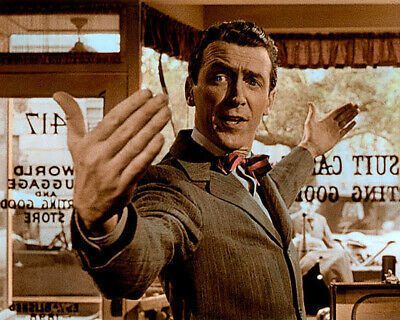 """JAMES STEWART IT'S A WONDERFUL LIFE 1946 8x10"""" HAND COLOR TINTED PHOTOGRAPH"""