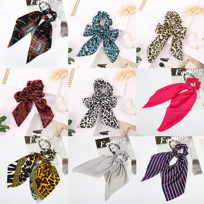 Women Girls Ribbon Bow Hair Rope Ring Elastic Ponytail Holder Accessories