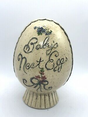Vintage Ceramic Piggy Coin Bank Hand Painted Baby's Nest Egg