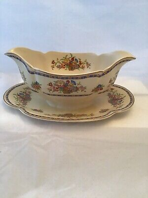 Beautiful Johnson Brothers England Pareek Gravy Boat with Underplate - excellent