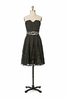 30c5455178 LITHE ANTHROPOLOGIE RARE black embroidered tulle Champagne Cocktail ...